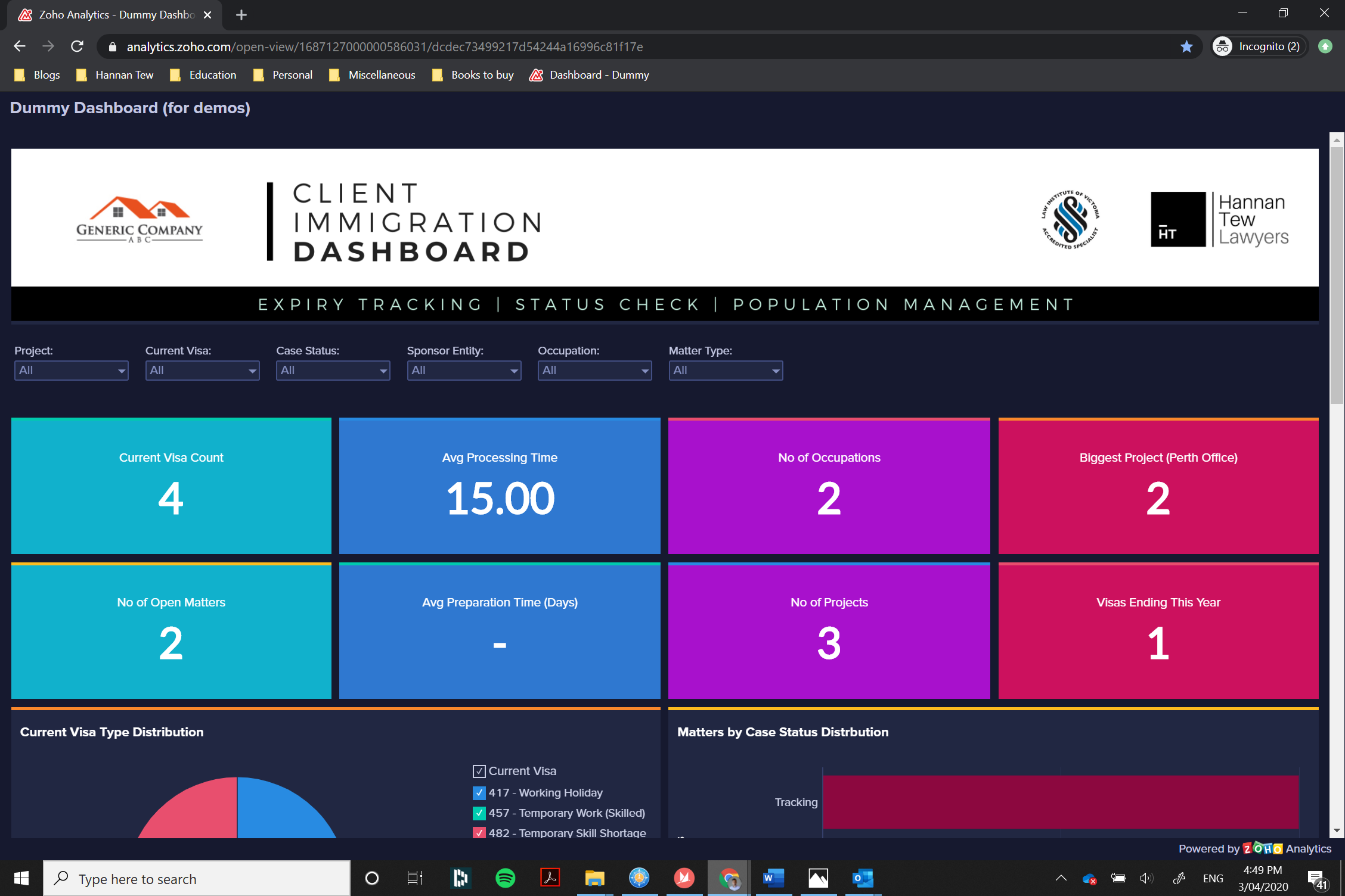 Immigration client dashboard